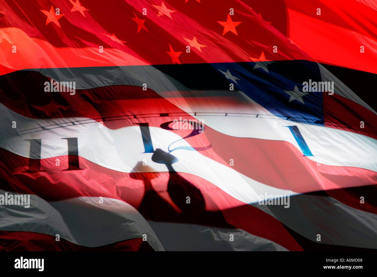 Digital Merg Clock and US Flag Photo Photos  - Stock Image