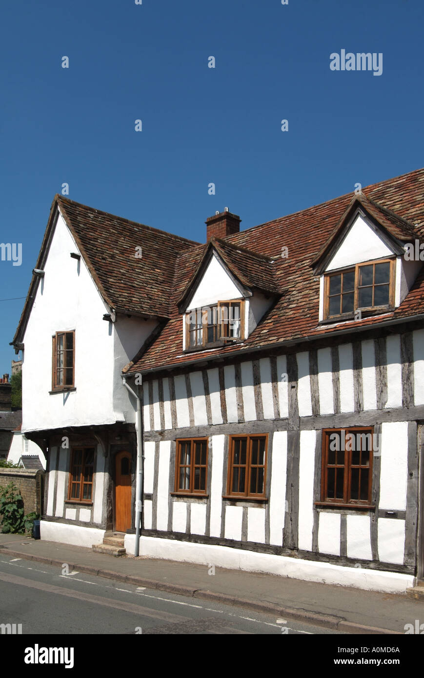 Ashwell village old timber framed and rendered house with front door ...