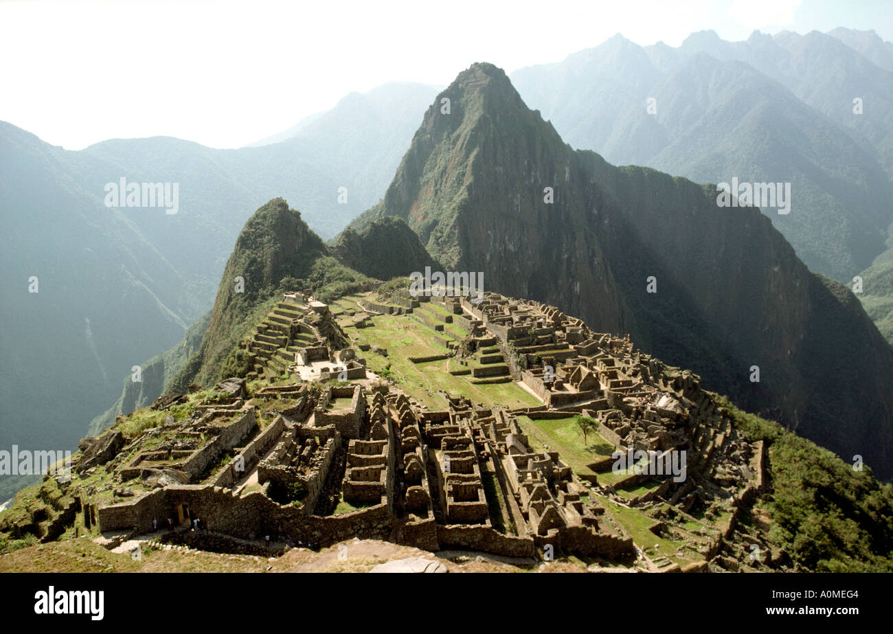 Peru Machu Picchu the site and surrounding mountains - Stock Image