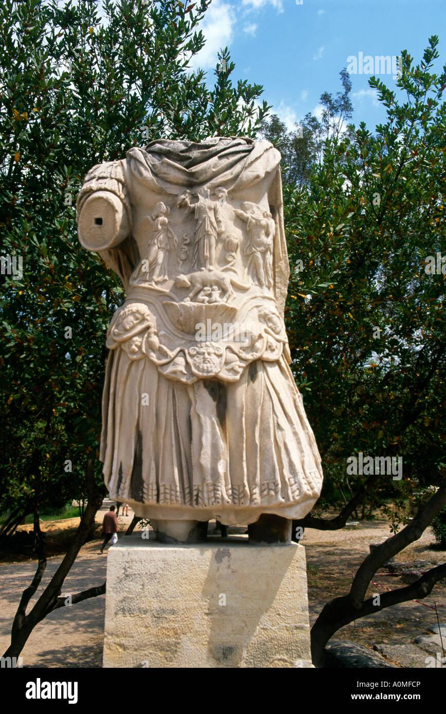 Athens Greece Ancient Agora Emperor Hadrian Statue - Stock Image