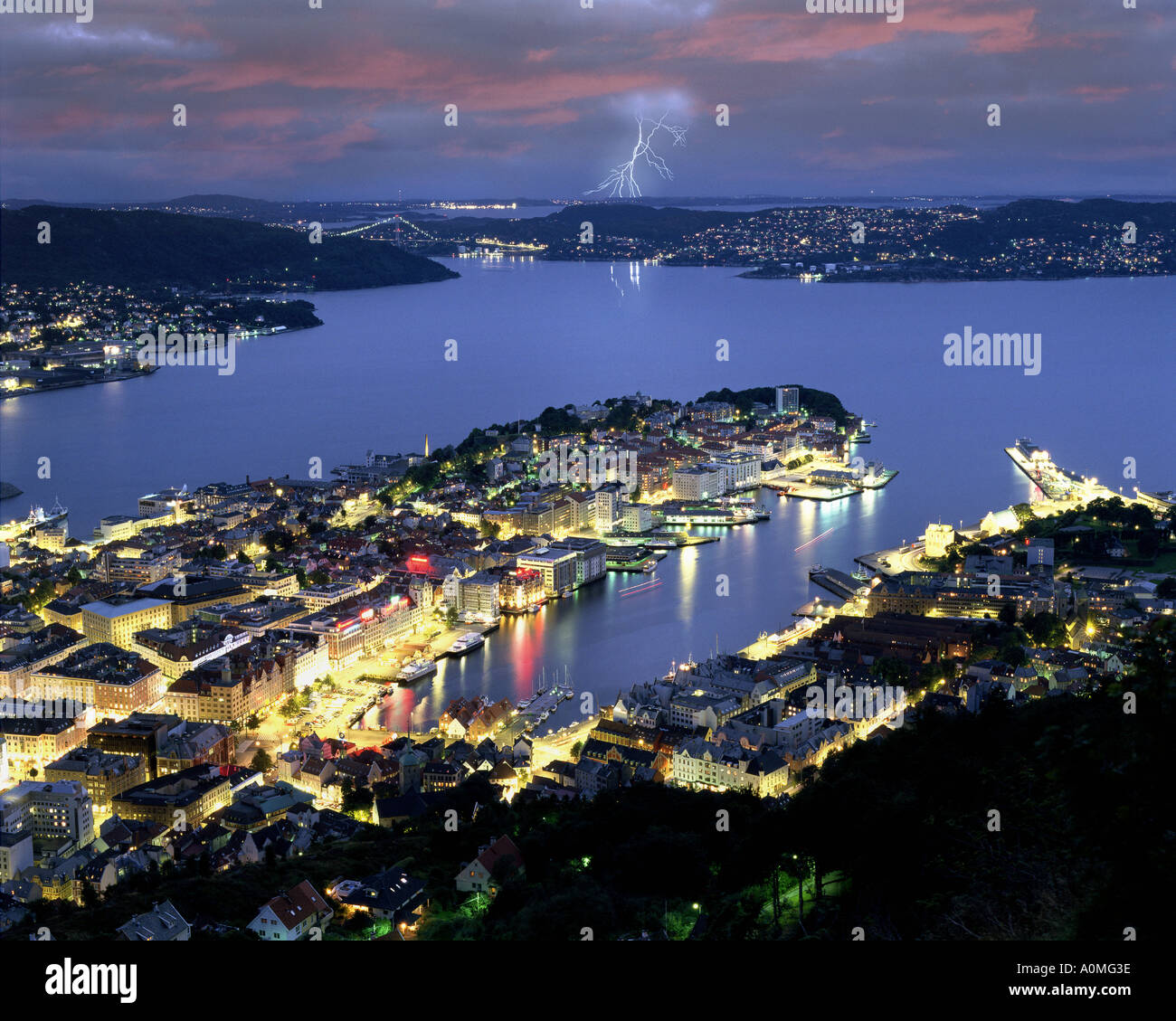 NO - HORDALAND: Bergen by night seen from Fjellvei Mountain Stock Photo