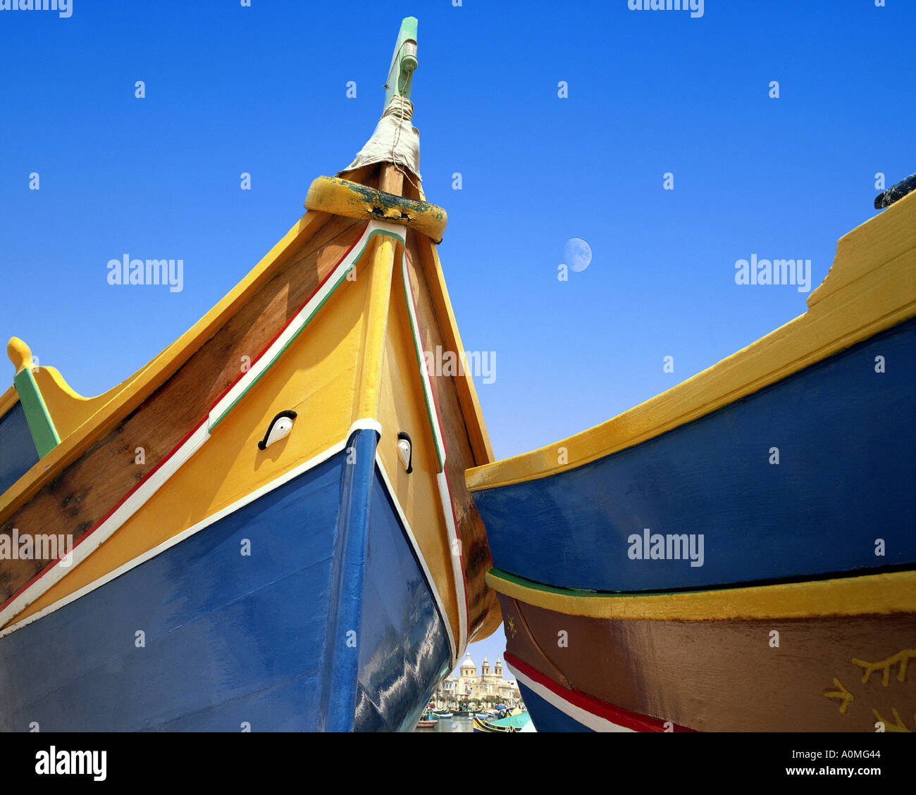 MT - MALTA: Typical Maltese Boats at Marsaxlokk Harbour Stock Photo