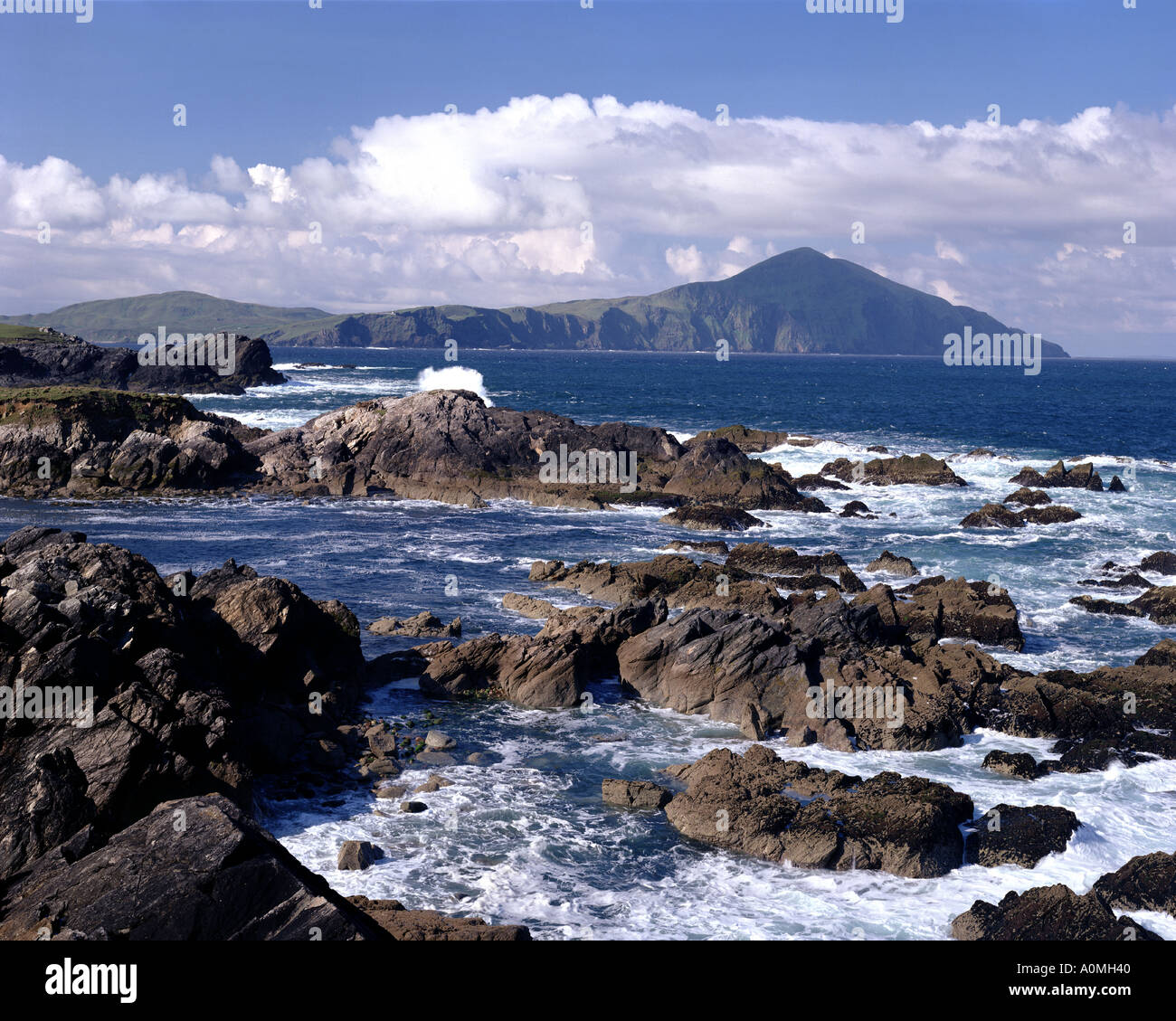 IE - CO. MAYO: View from Atlantic Drive on Achill Island with Clare Island in Background Stock Photo