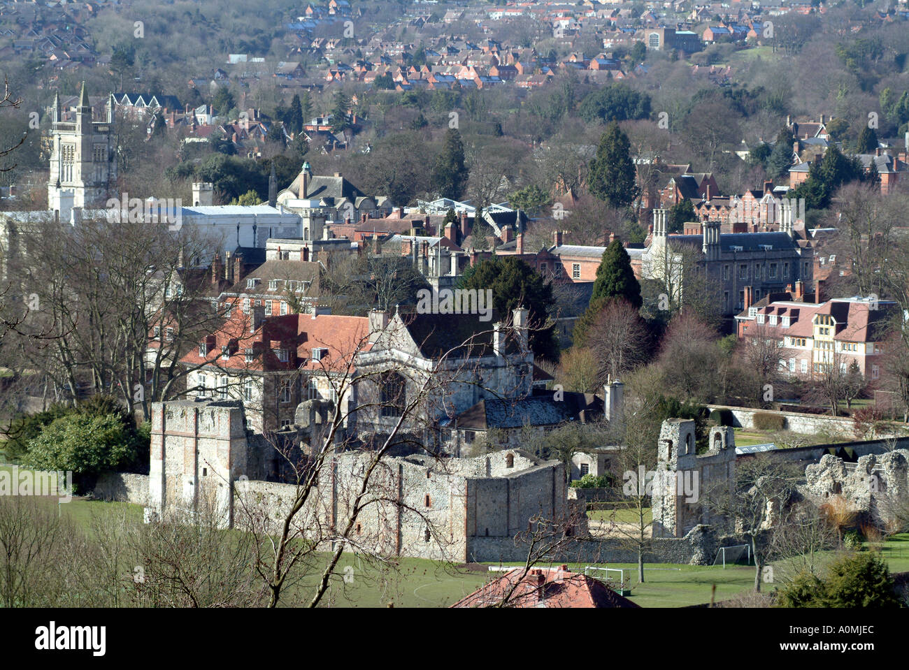 City centre of Winchester Hampshire southern England UK Wolvesey Castle Stock Photo
