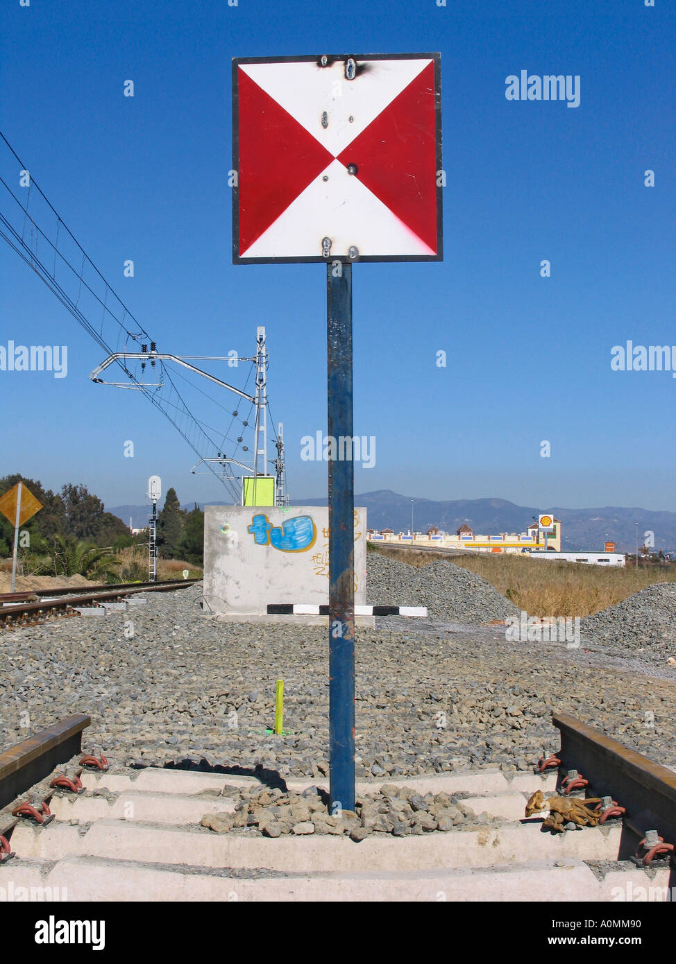 Spain End of the line on railway Stock Photo