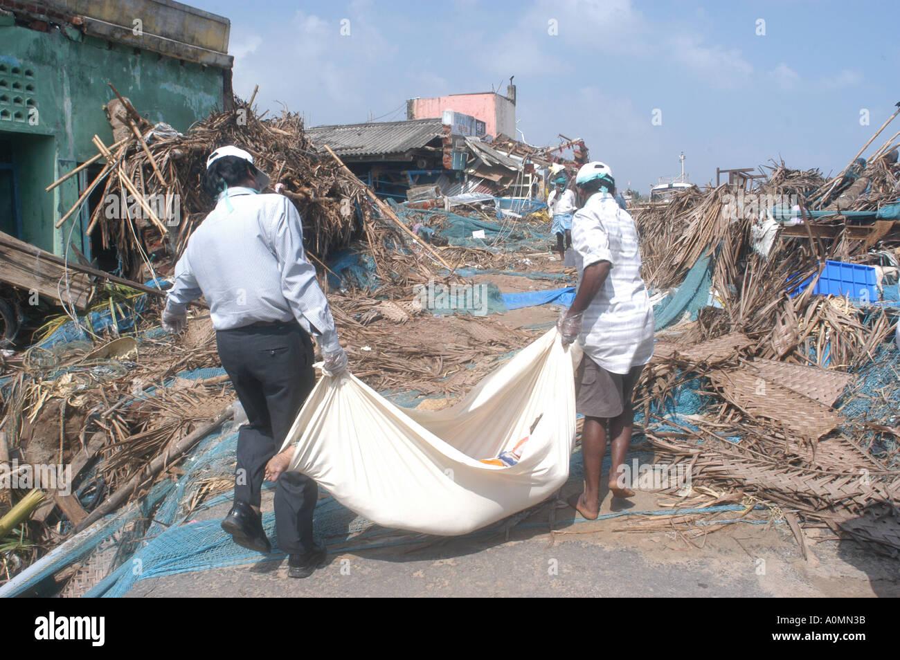 Death by natural disaster Tsunami earthquake on sea floor Nagapattinum Velankanni Tamil Nadu Indian Ocean India - Stock Image
