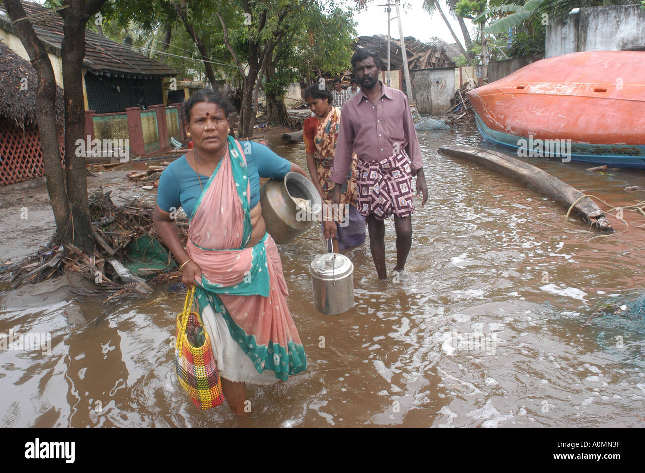 MPD92712 Damage by natural disaster Tsunami earthquake on sea floor Nagapattinum Velankanni Tamil Nadu Indian Ocean - Stock Image