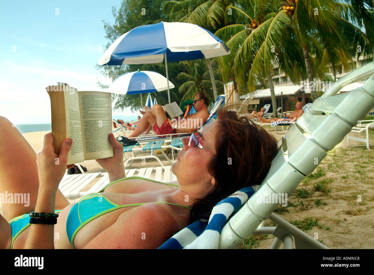 Relaxing in a tropical resort,  photo by Bruce Miller 11 2004 - Stock Image