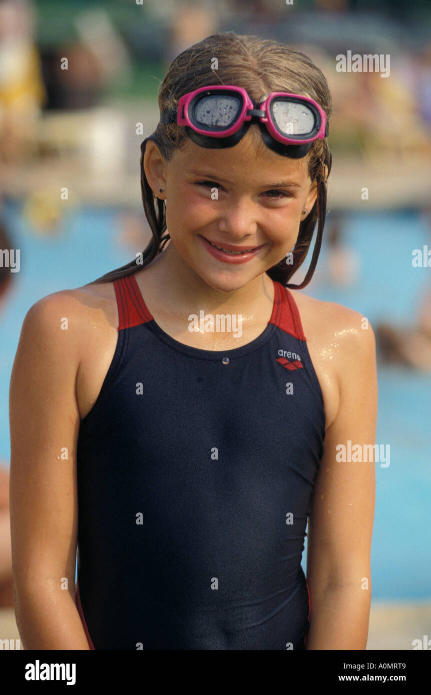 1 One Young Girl Female Swimmer Swim Swimming Pool Goggle Smile Stock Photo 5731784 Alamy
