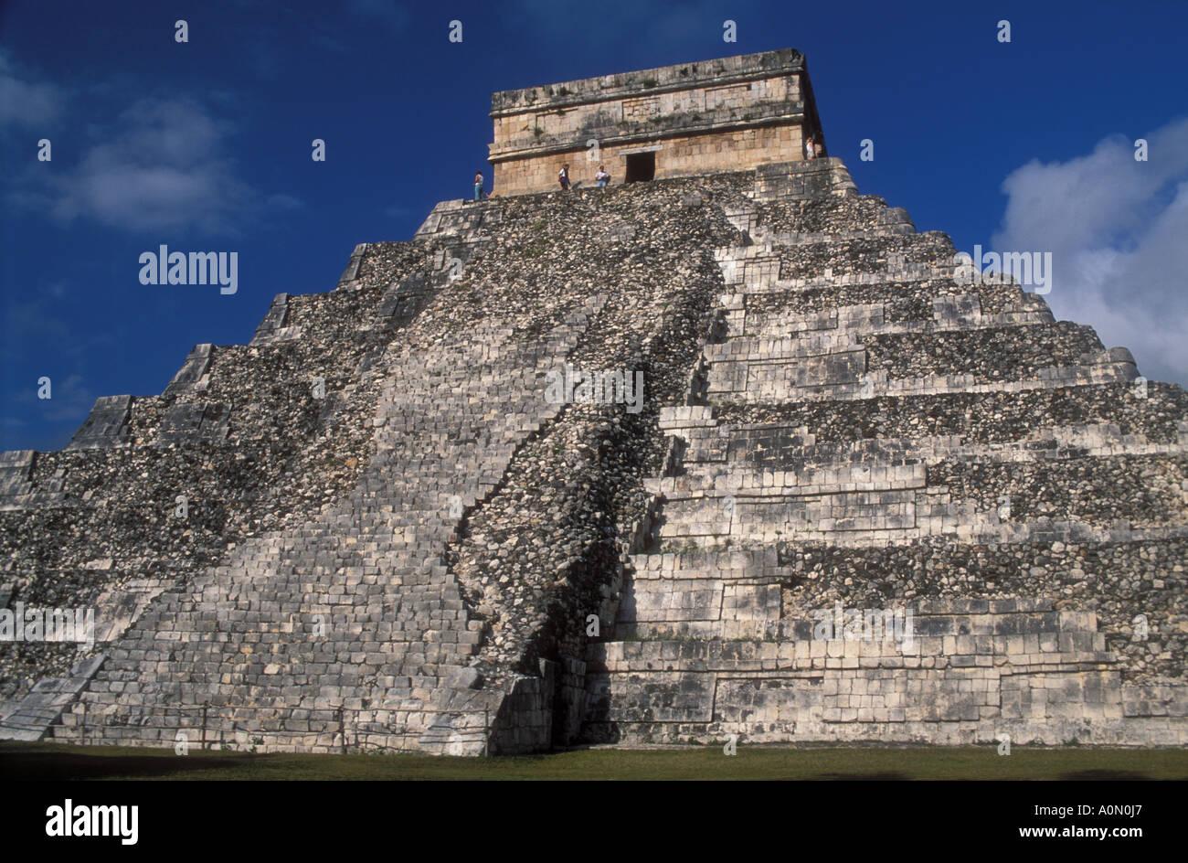 Pyramide of Kukulkan El Castillo backside Maya historic site Chichen Itza Yucatan Mexico - Stock Image