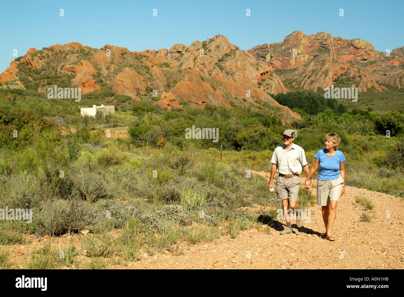 South African rural landscape couple walking Red Stone Hills area