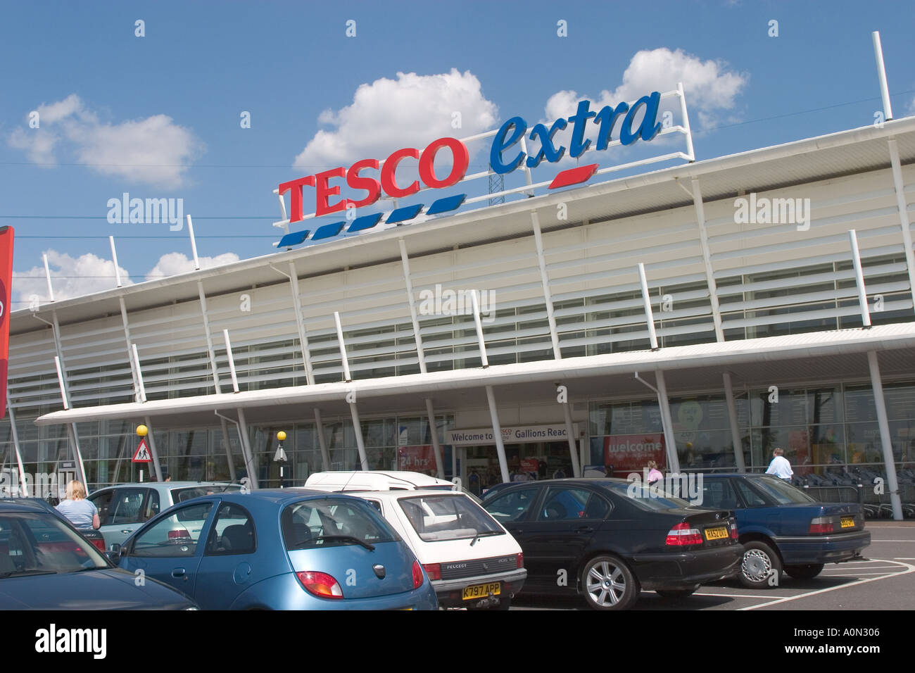 Tesco Extra at Gallions Reach Shopping Park Newham East london Stock Photo