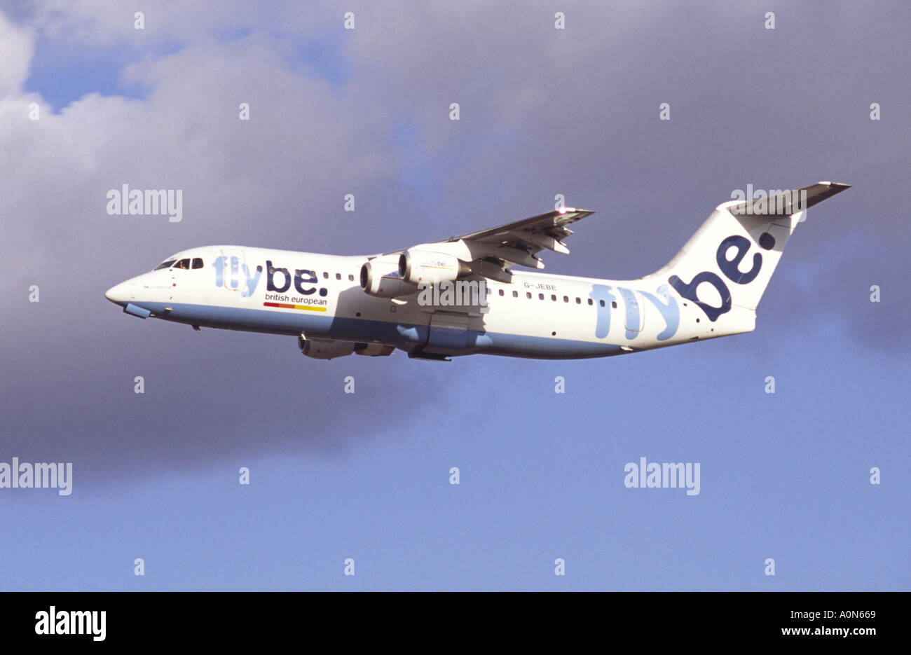 British Aerospace BAe 146 operated by Flybe. - Stock Image