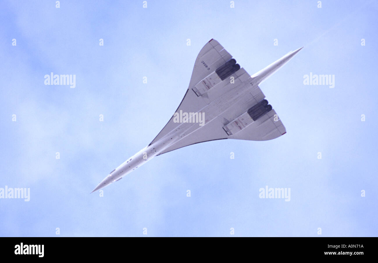 Concorde delta wing plane, British Airways, Overflying Birmingham Airport Five Days Before Retirement From Service - Stock Image