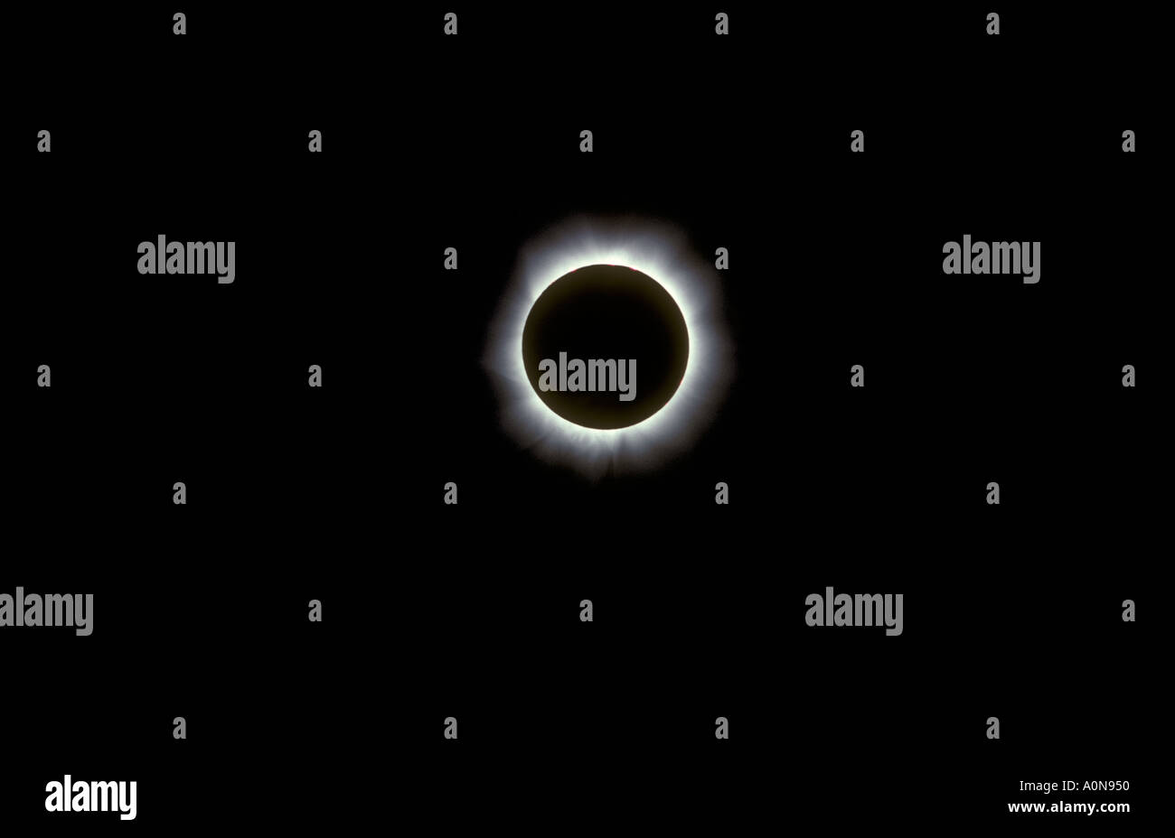 Total eclipse of the sun showing the corona in June 1973 seen from northern Kenya East Africa - Stock Image