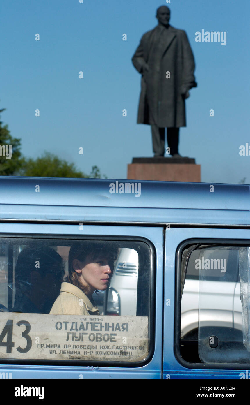 A statue of Lenin watches over traffic in Yuzhno Sakhalinsk on Sakhalin Island in Russia 2004 Stock Photo