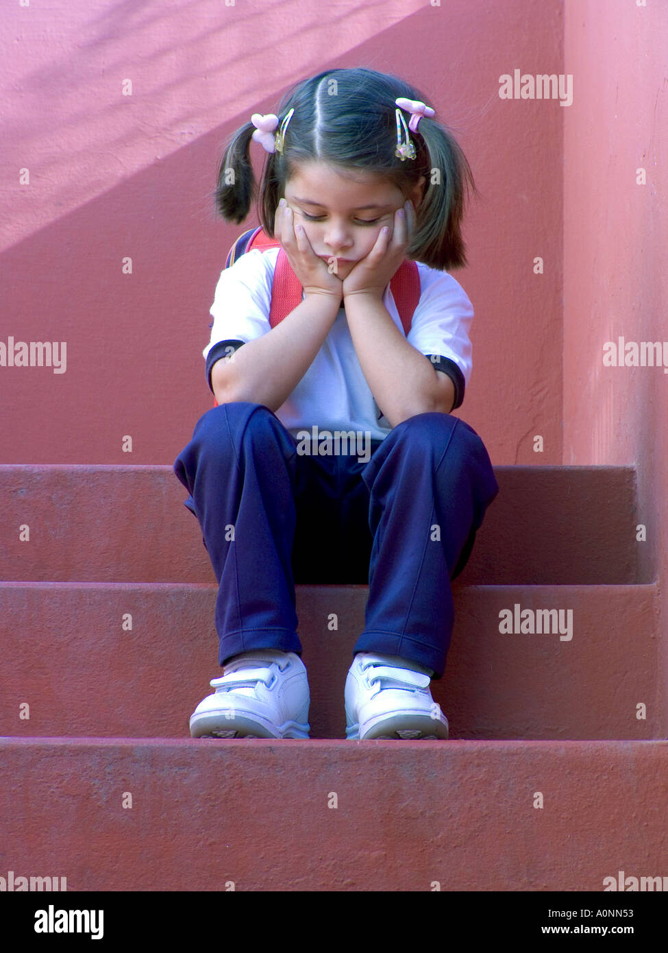 Sad Girl Sitting Alone Outside Stock Photos Sad Girl: School Girl Lonely Stock Photos & School Girl Lonely Stock