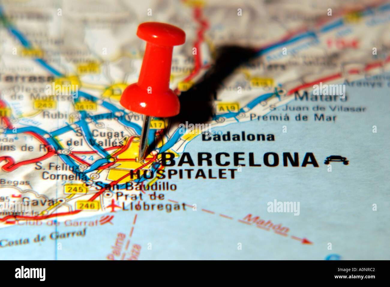 Map Pin pointing to Barcelona on a road map Stock Photo 3277761 Alamy