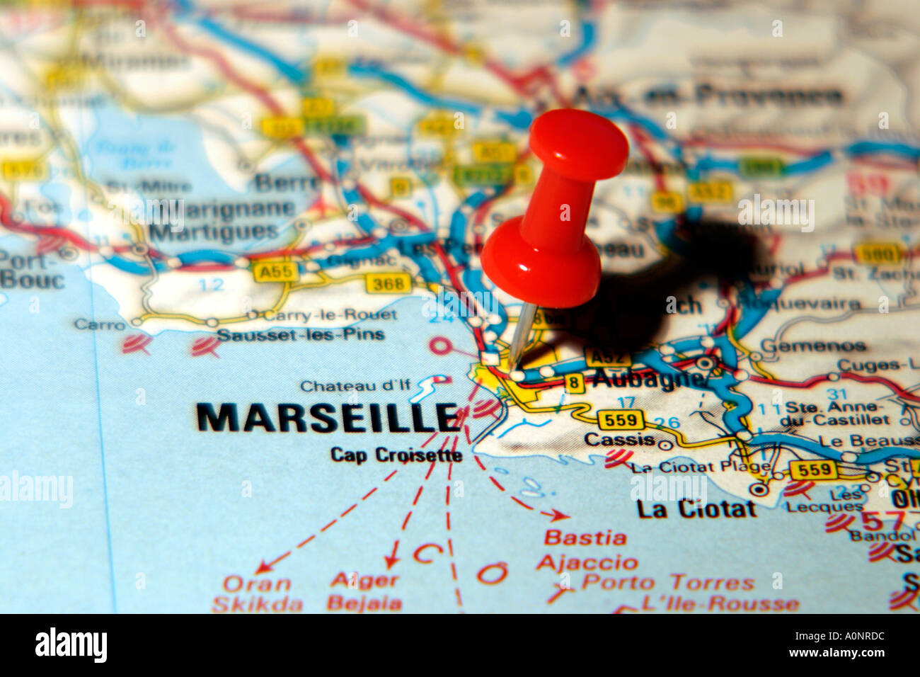 Map Pin Pointing To Marseilles France On A Road Map Stock Photo