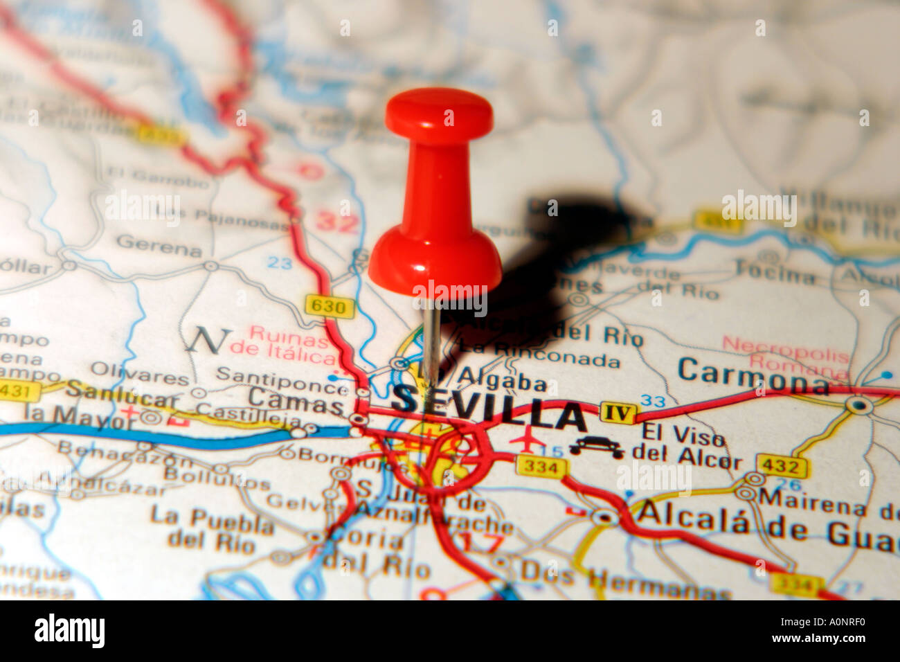 Map Pin pointing to Seville Spain on a road map Stock Photo 3277807