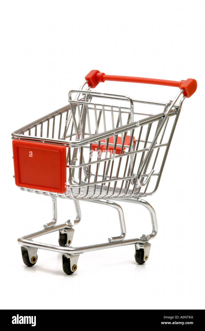 Metal shopping cart on white background - Stock Image