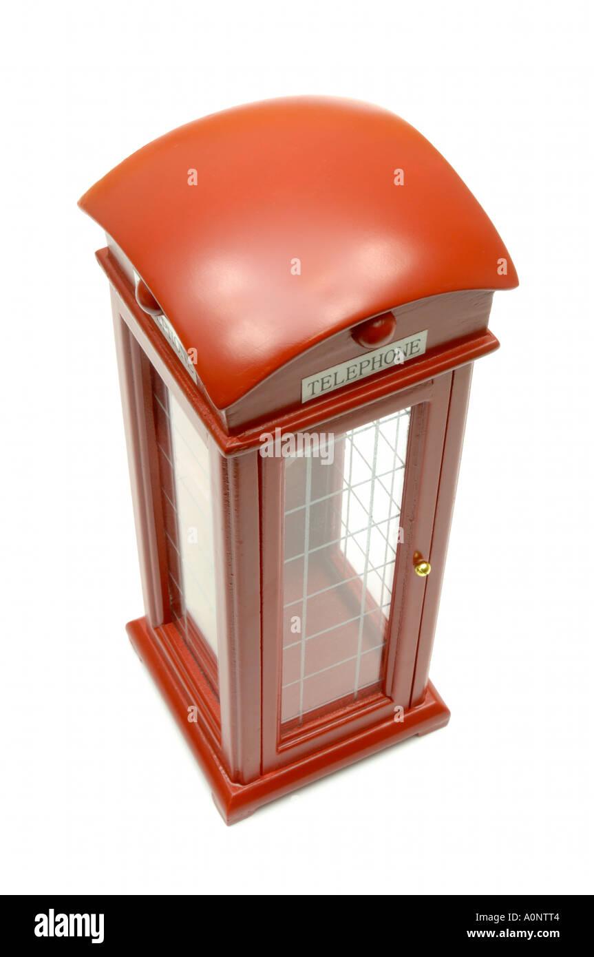 British telephone booth on white background - Stock Image