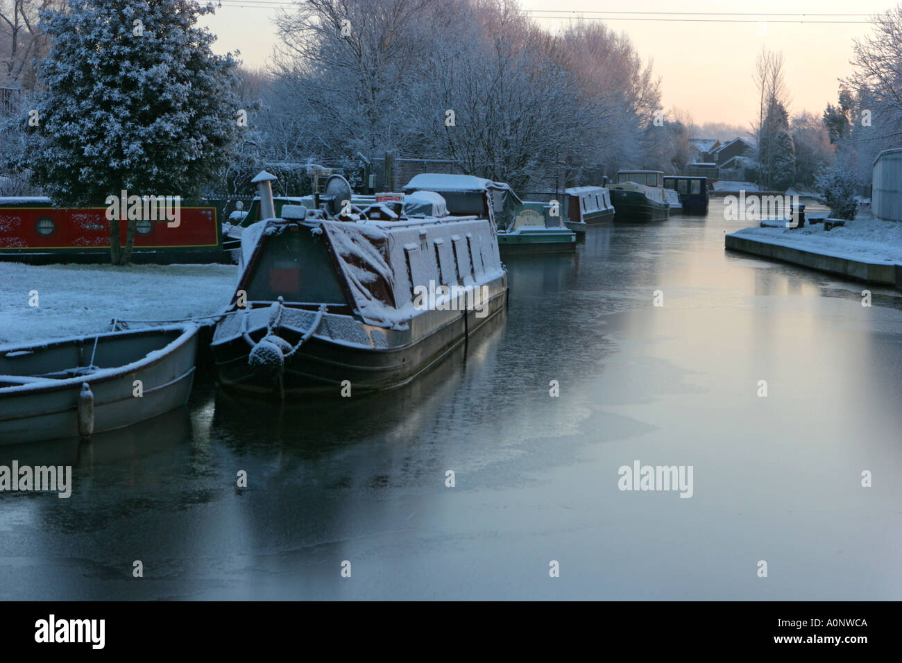 Barges early morning on Bridgewater Canal Worsley Salford UK Stock Photo