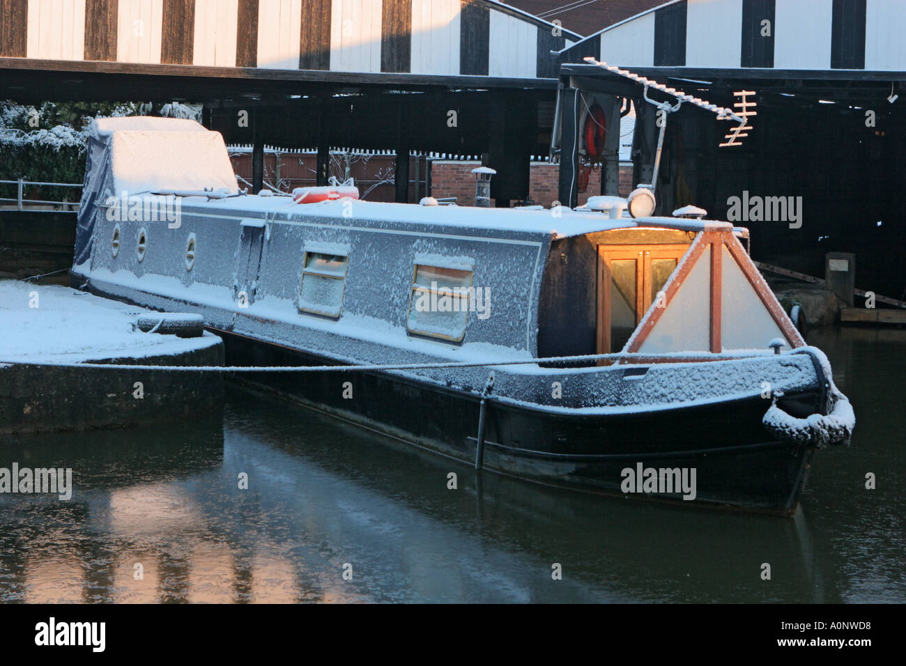 Barge in dock Bridgewater Canal Worsley Salford UK Stock Photo
