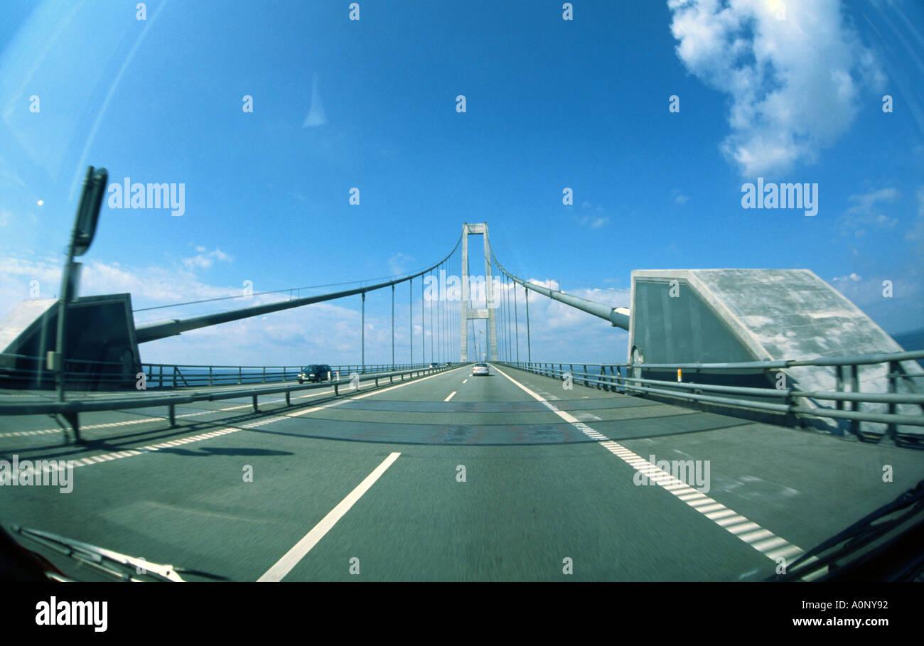 Suspension Bridge over Great Belt Denmark Fisheye View - Stock Image