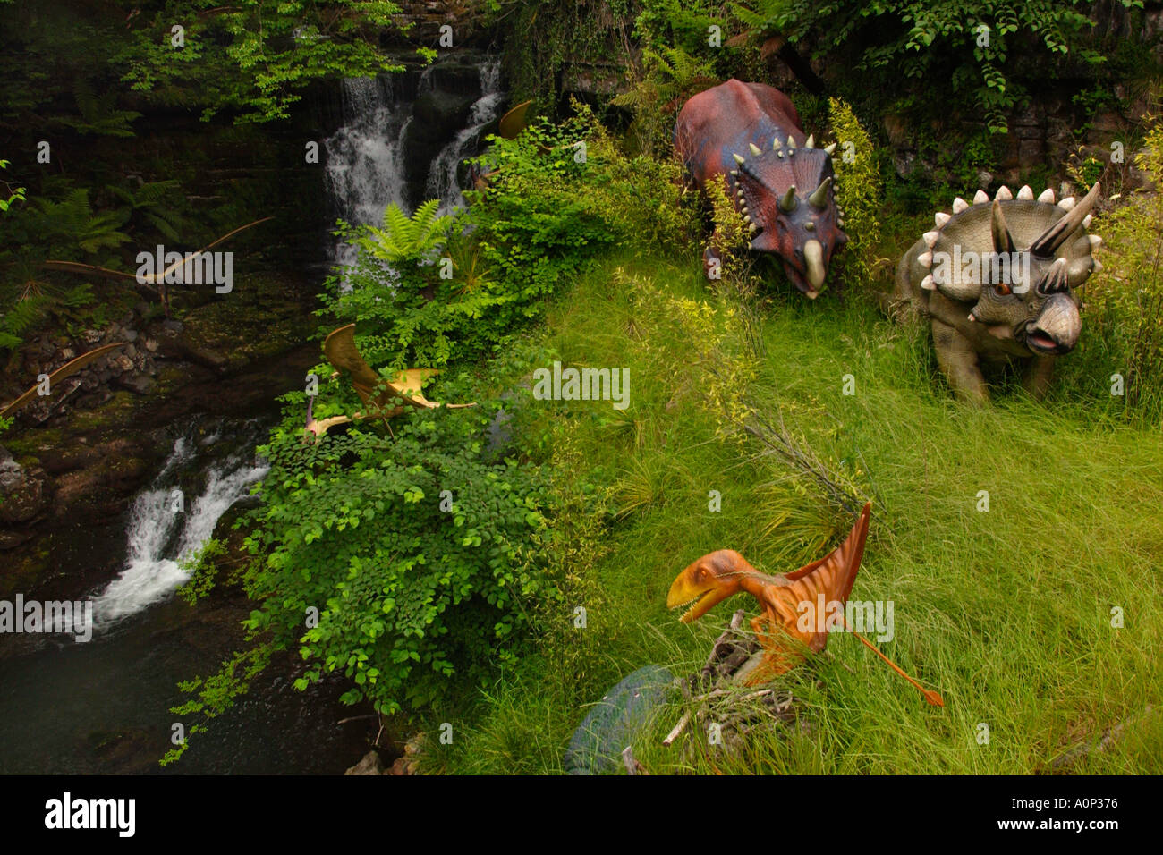 Selection of dinosaurs in the Worlds biggest dinosaur park at Dan yr Ogof in the Brecon Beacons National Park Powys Wales UK - Stock Image