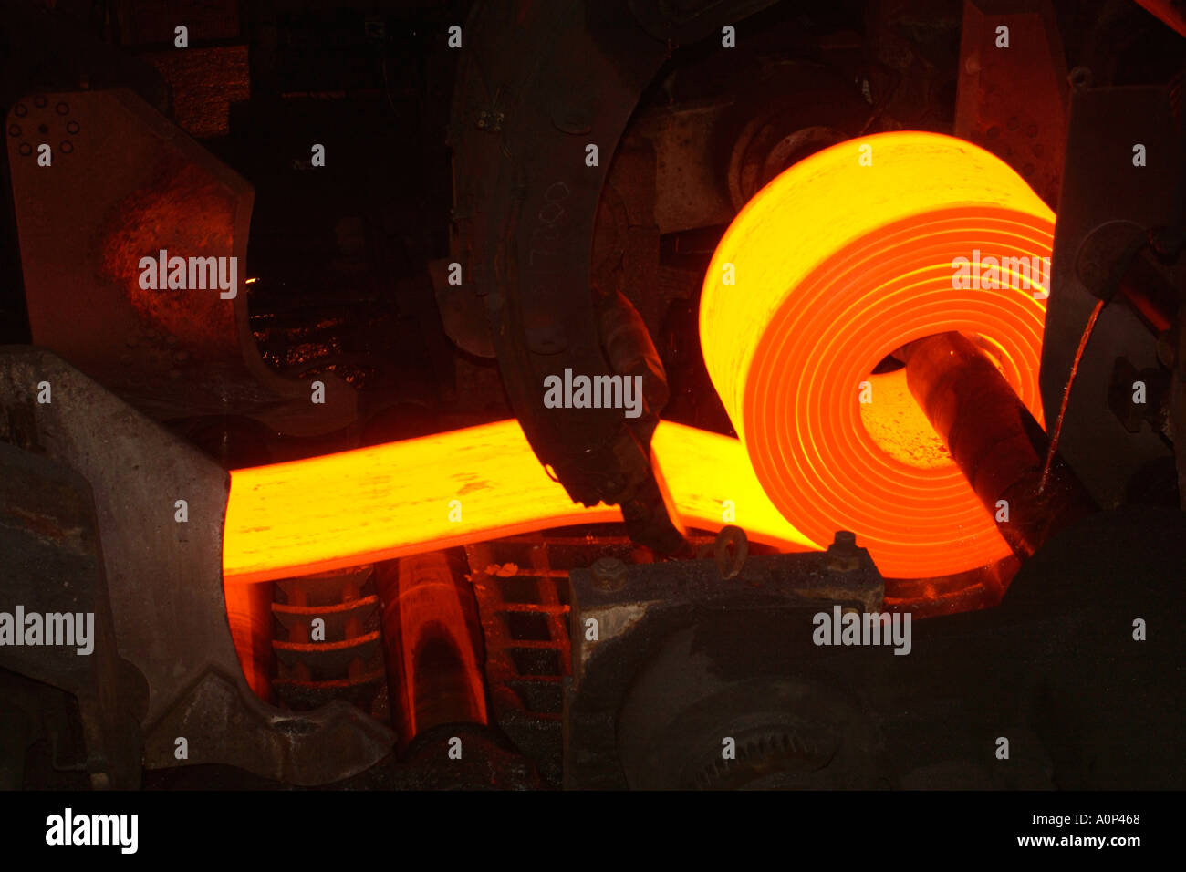Coilbox coiling rolled steel on the Hot Strip Mill at Corus Port Talbot steelworks Wales UK EU - Stock Image