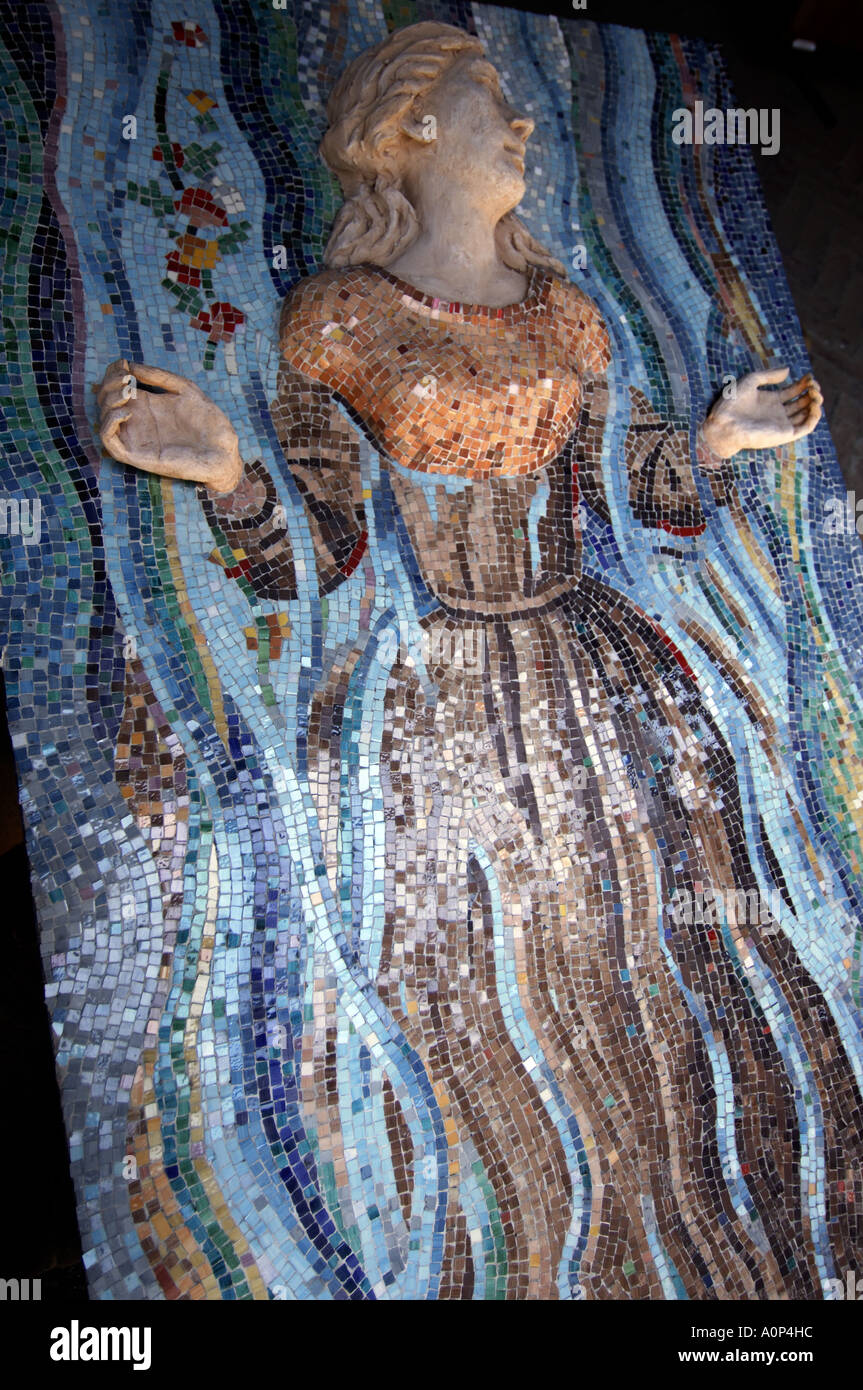 Turin a mosaic on display in the Borgo Medievale Stock Photo