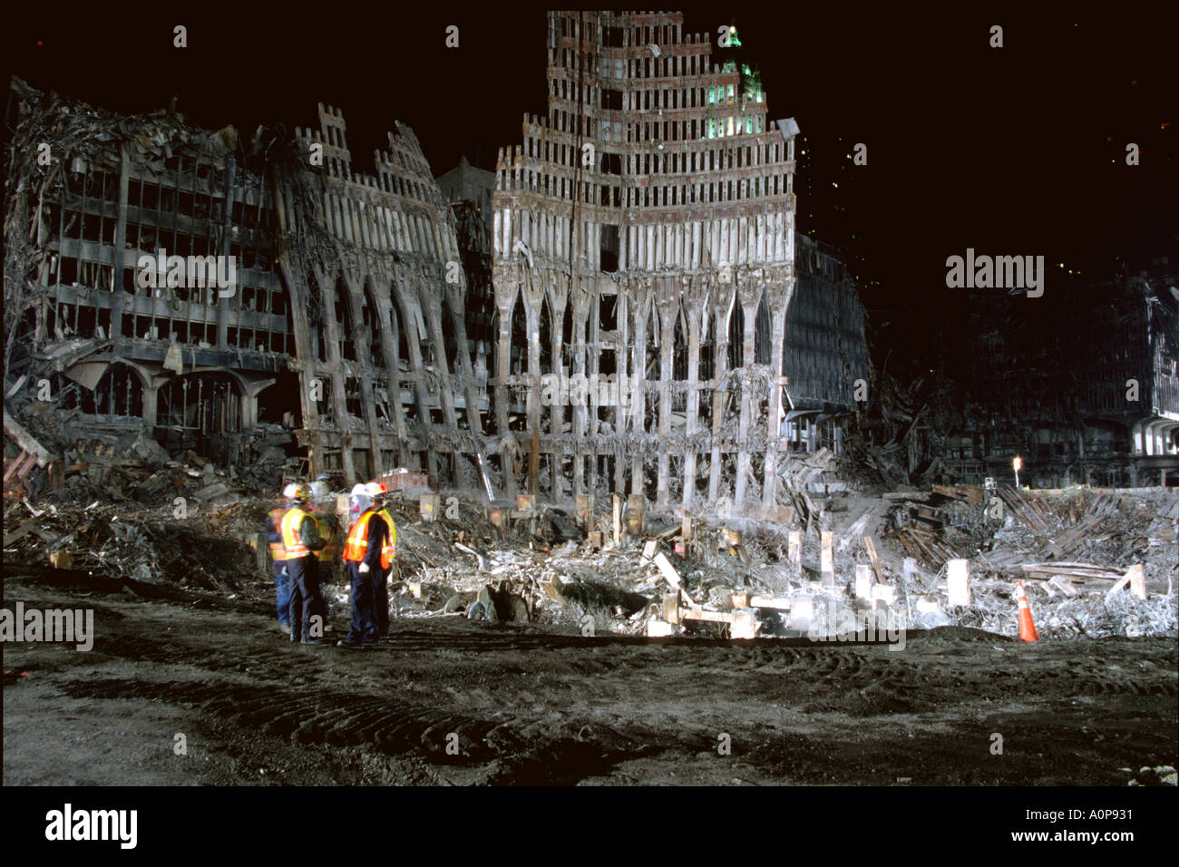 The clean up progressed at Ground Zero World Trade Center 60 days after September 11 2001 - Stock Image