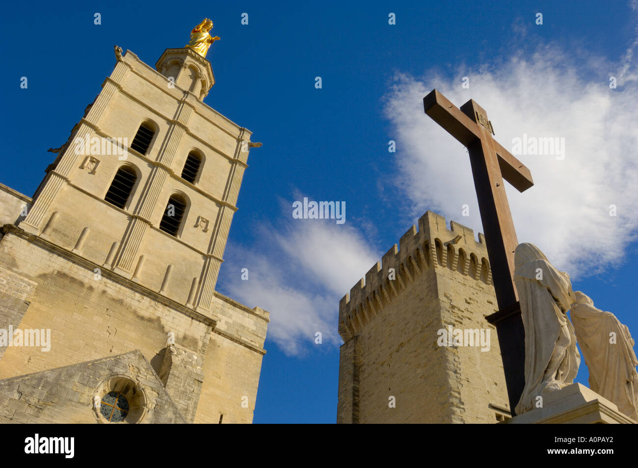 Religious iconography at the Palais des Papes, Avignon, France - Stock Image
