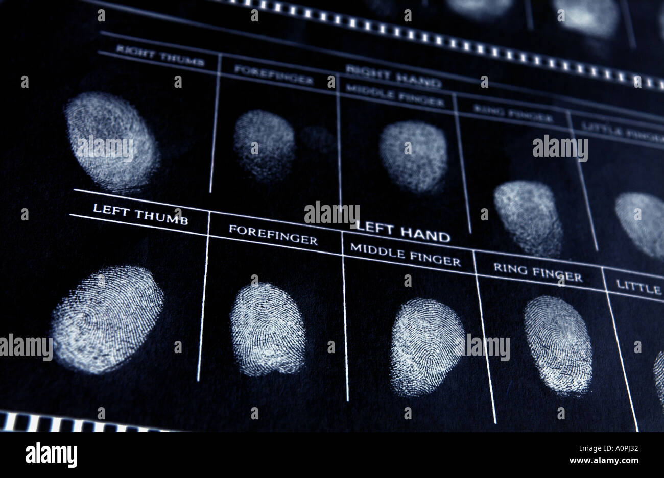 a negative of a police file with fingerprints - Stock Image