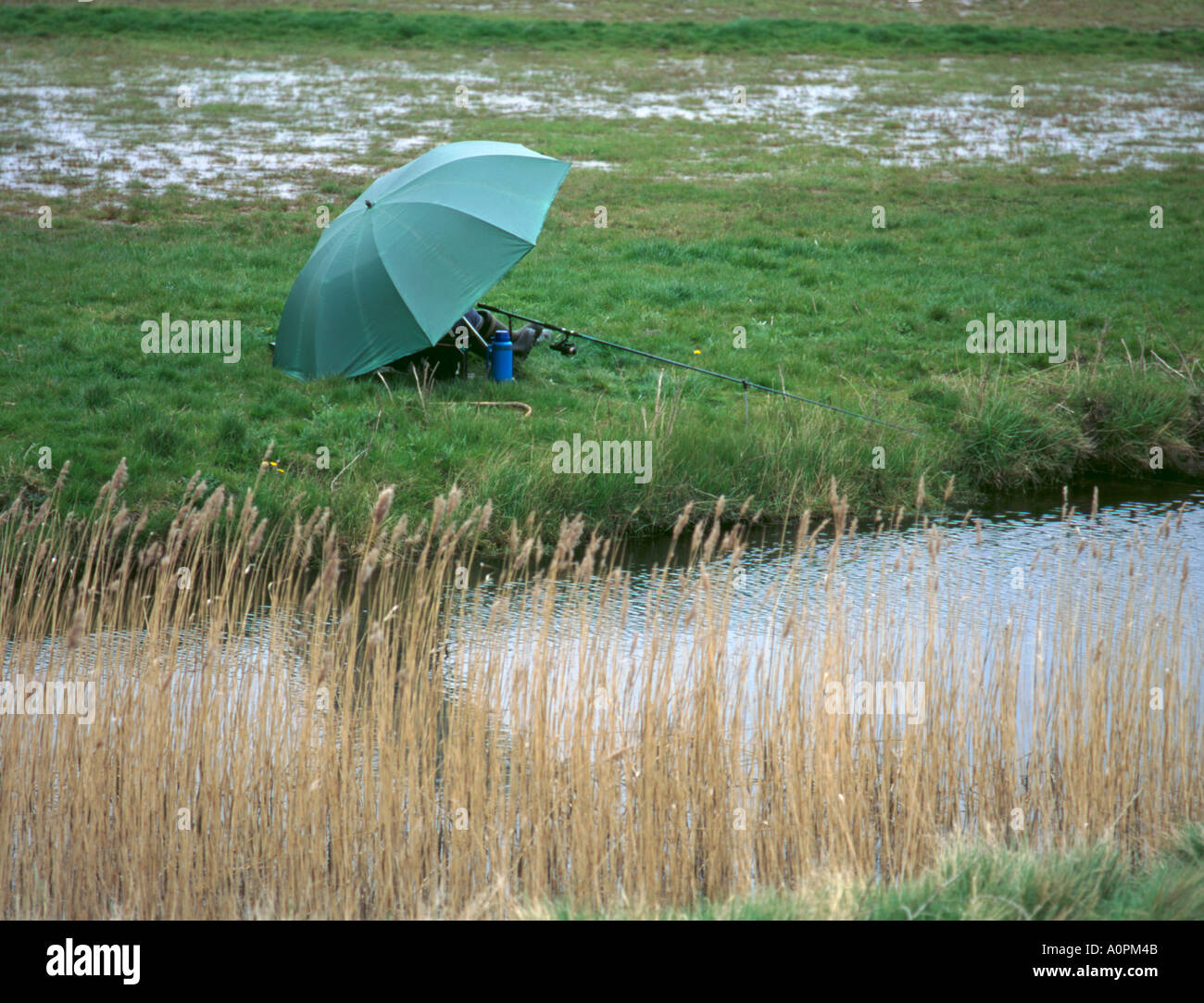 Fishing on a wet day, Suffolk, England, UK. - Stock Image
