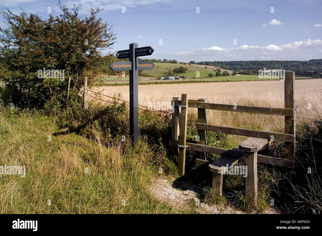 Stile on the Ridgeway Path Pitstone Hill Chilterns Buckinghamshire England United Kingdom Europe - Stock Image