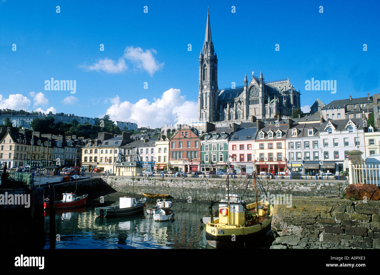 Cobh Harbour County Cork Ireland Eire travel tourism Cathedral St Colman haven holiday resort Lusitania - Stock Image
