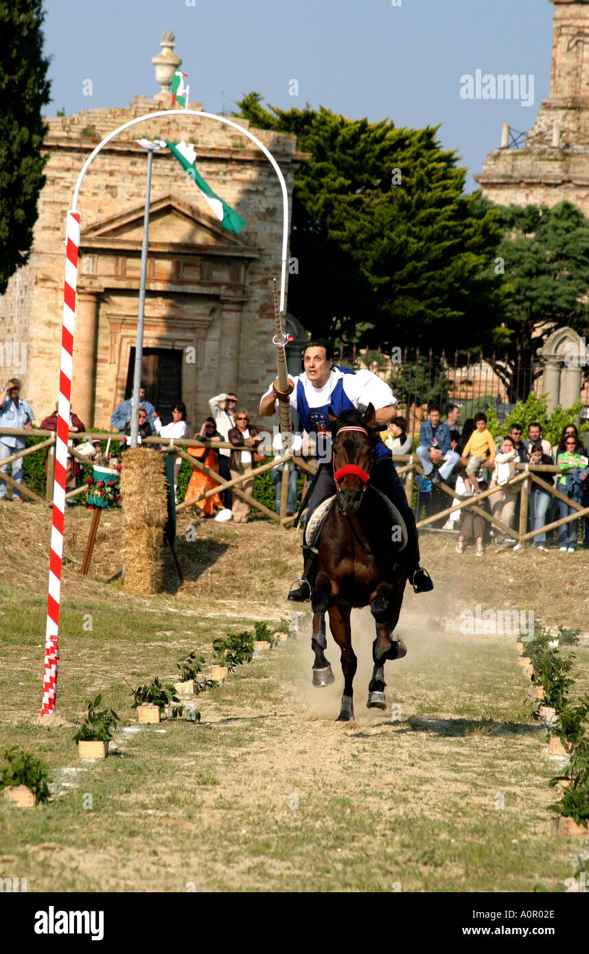 winner of the Jousting competition at traditional annual medieval festival at Monte Rubbiano in Le Marche the Marches Stock Photo