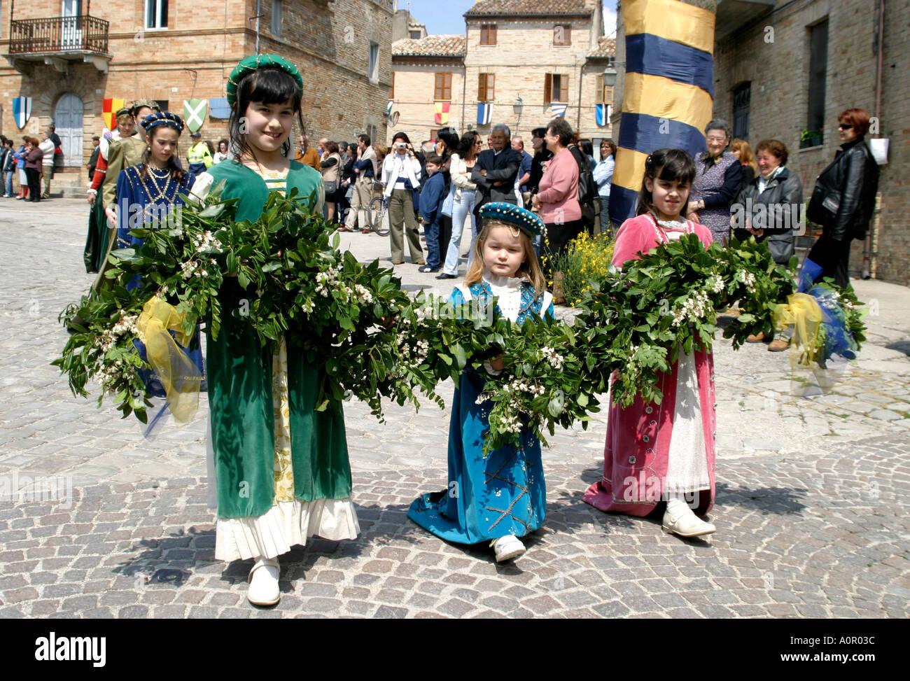 medieval costume in procession at Monterubbiano annual festival ,Le Marche Italy Stock Photo