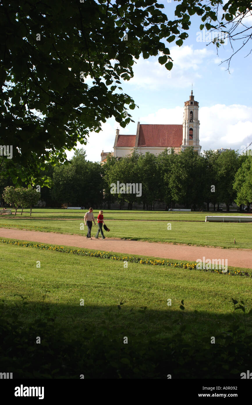 Lukiskiu aikste formerly known as Lenin Square in Vilnius Lithuania Stock Photo