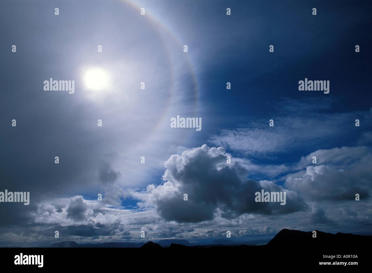 ICELAND Halo around sun mid summer - Stock Image