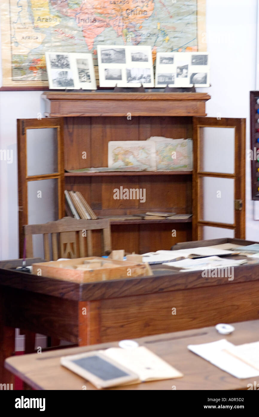 Student bench teachers desk and shelf from an antique schoolroom student bench teachers desk and shelf from an antique schoolroom with books and world map gumiabroncs Gallery