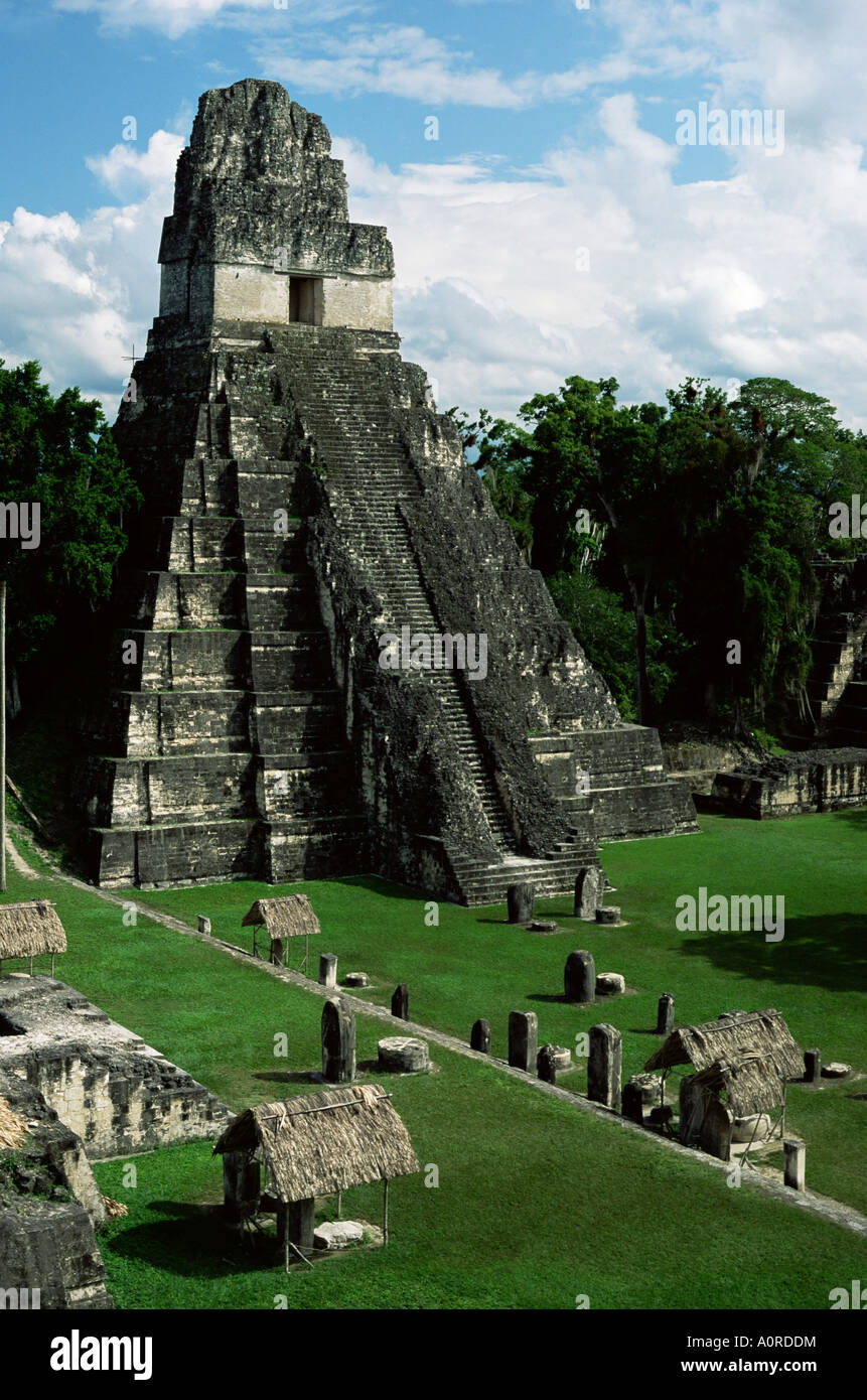 Temple of the Great Jaguar in the Grand Plaza Mayan ruins Tikal UNESCO World Heritage Site Peten Guatemala Central - Stock Image