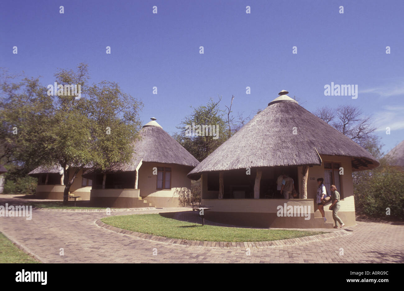 Skukuza Lodge typical cottages at the entrance to Kruger National Park South Africa - Stock Image
