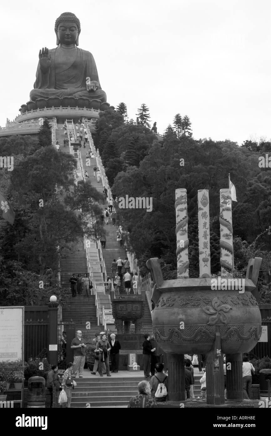 The Big Buddha Stairs Black and White - Stock Image