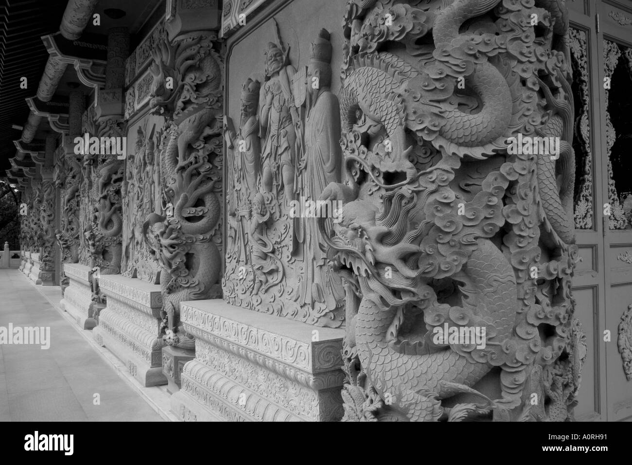Temple Wall Black and White - Stock Image