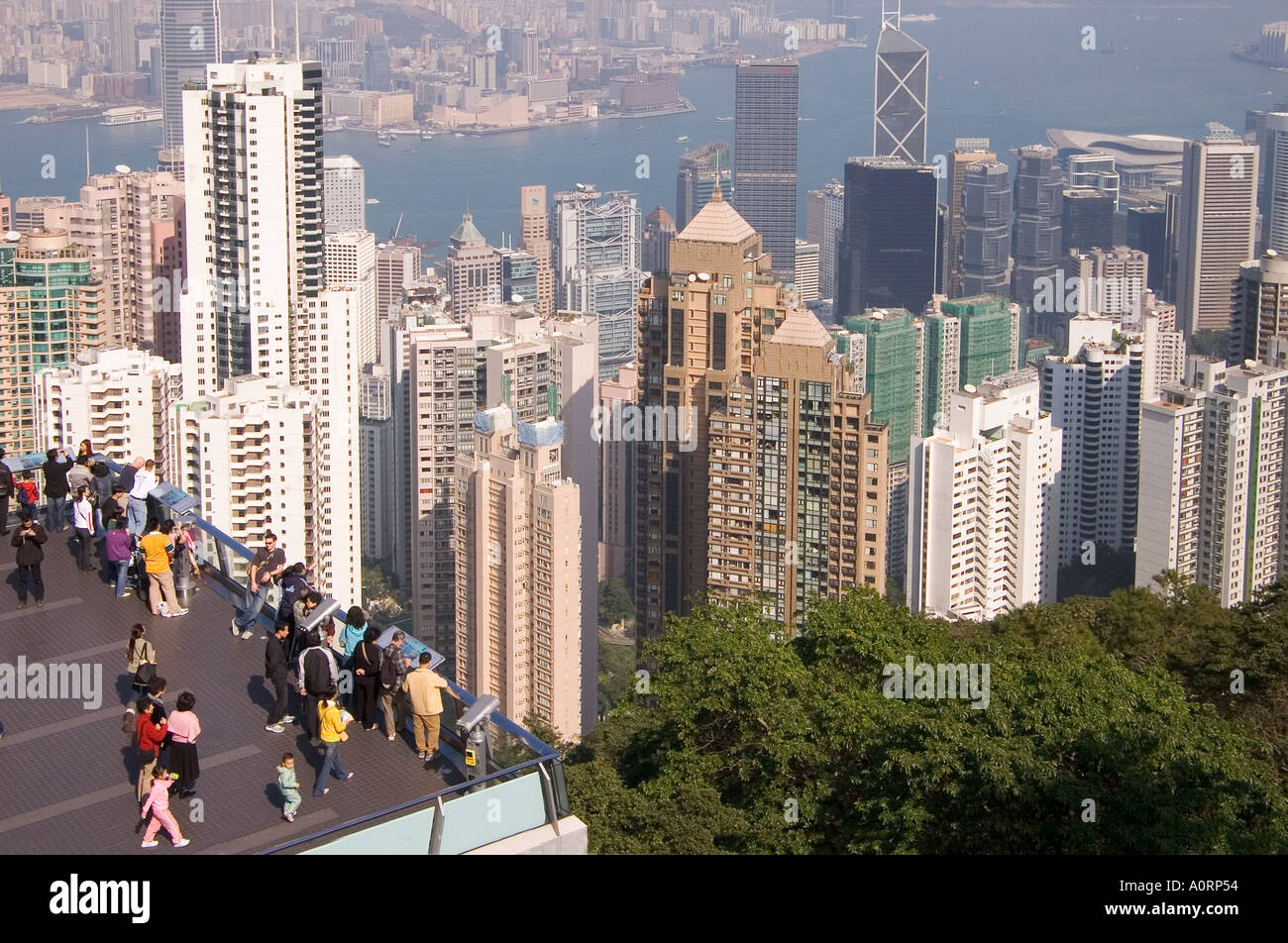 dh viewpoint VICTORIA PEAK HONG KONG Peak Tower tram terminal terrace lookout Central midlevel buildings Stock Photo