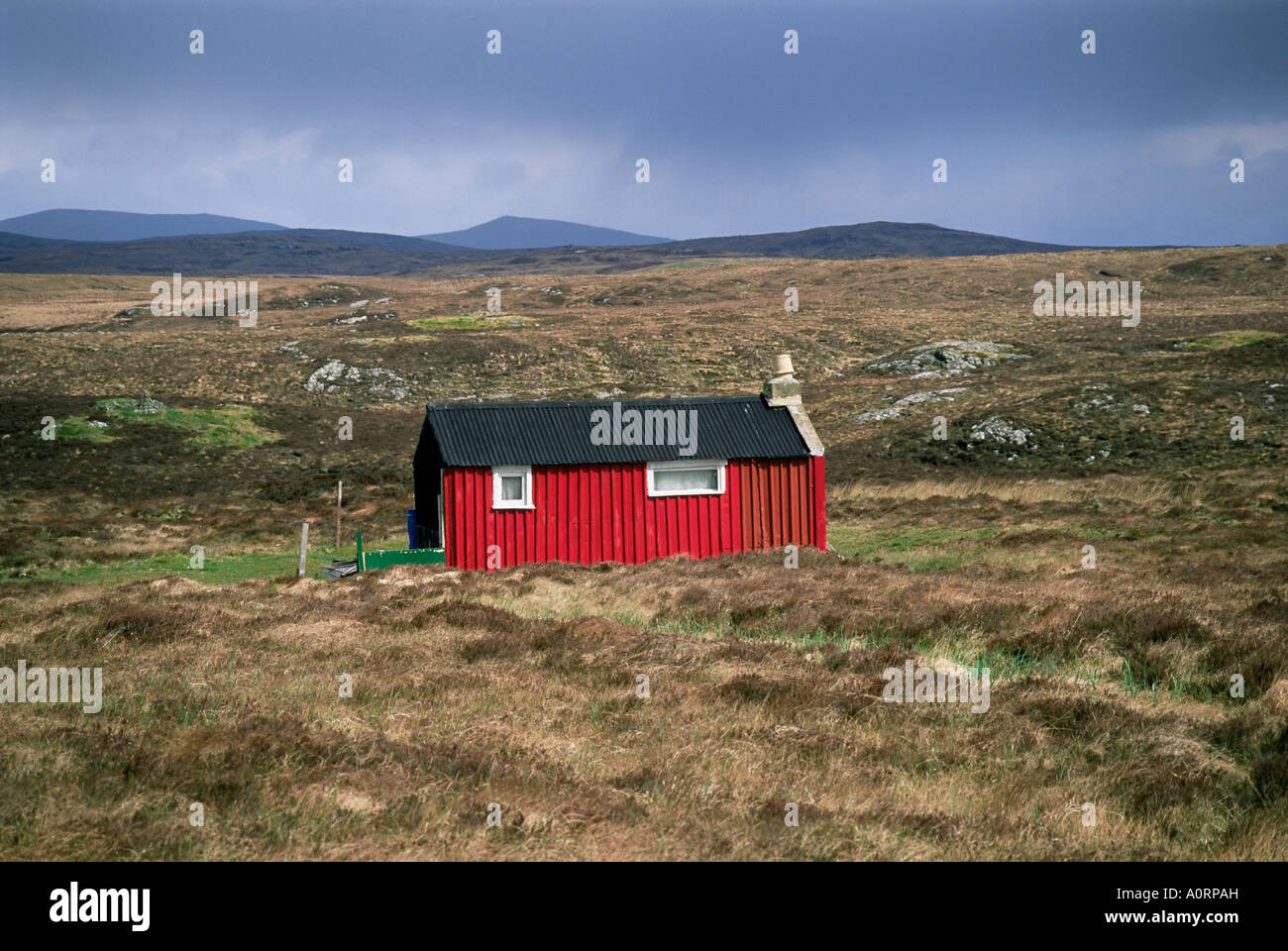 Red hut shieling Achmore Isle of Lewis Outer Hebrides Western Isles Scotland United Kingdom Europe - Stock Image