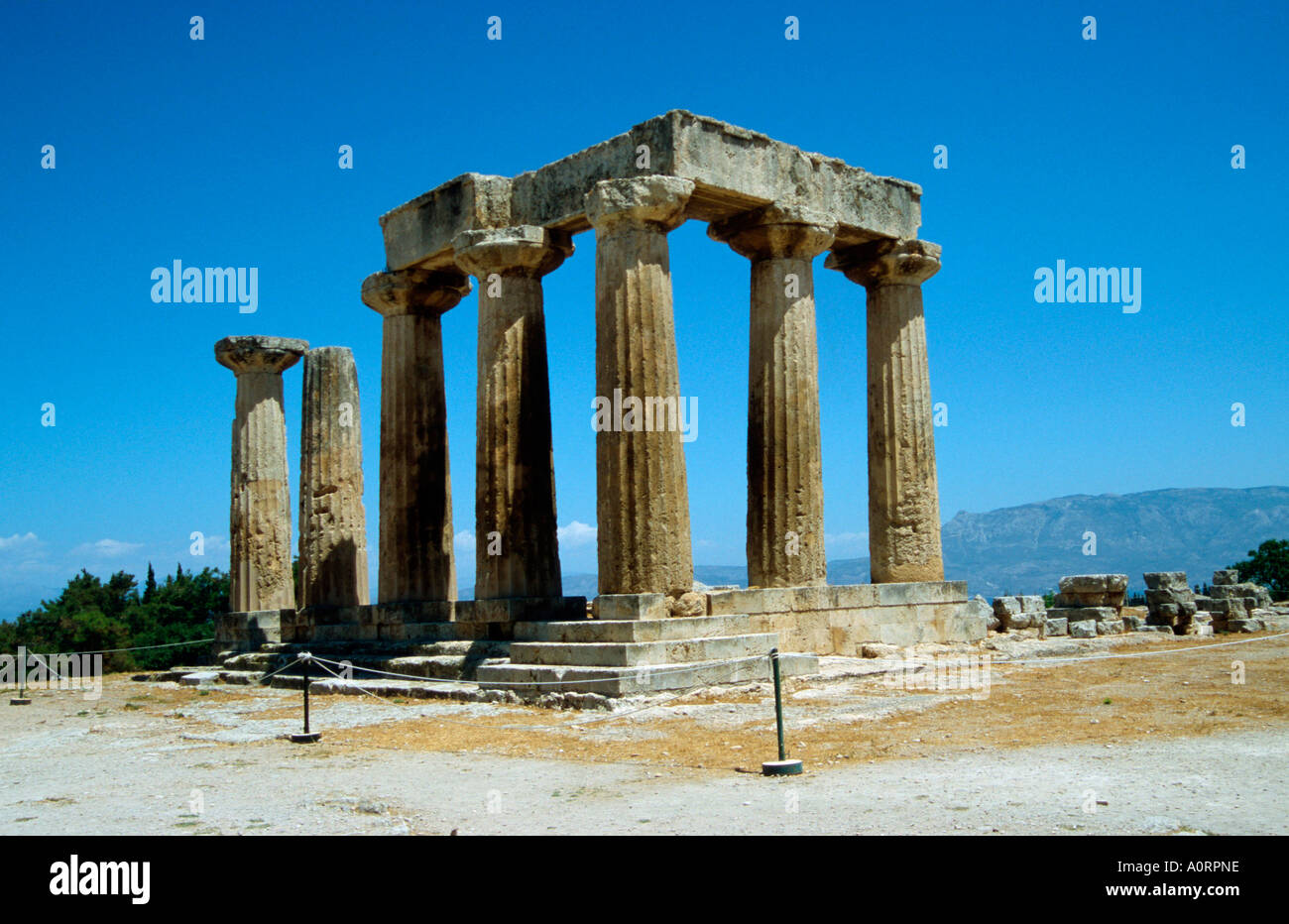 Temple of Apollon / Antikes Korinth / Apollo-Tempel - Stock Image